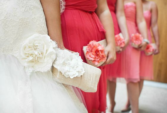 Champagne and Coral pink wedding clutch, bridesmaids purses, personalized gifts on Etsy, $68.00
