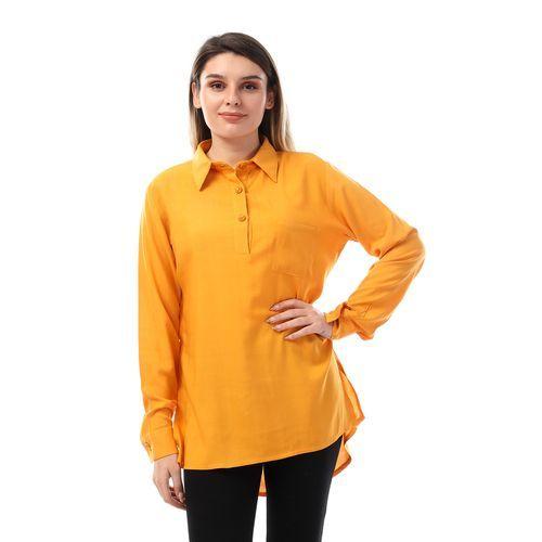 Andora قميص طويل الأكمام بأزرار منخفضة اللون برتقالي فاتح مواصفات المنتج تو Long Sleeve Shirts Shirt Sleeves Athletic Jacket