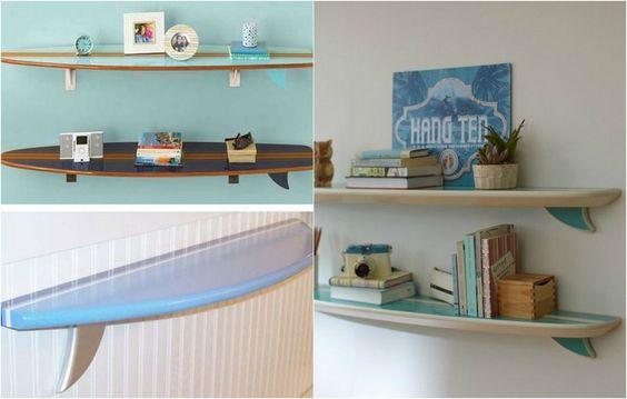 planche de surf transformé en une étagères murales: