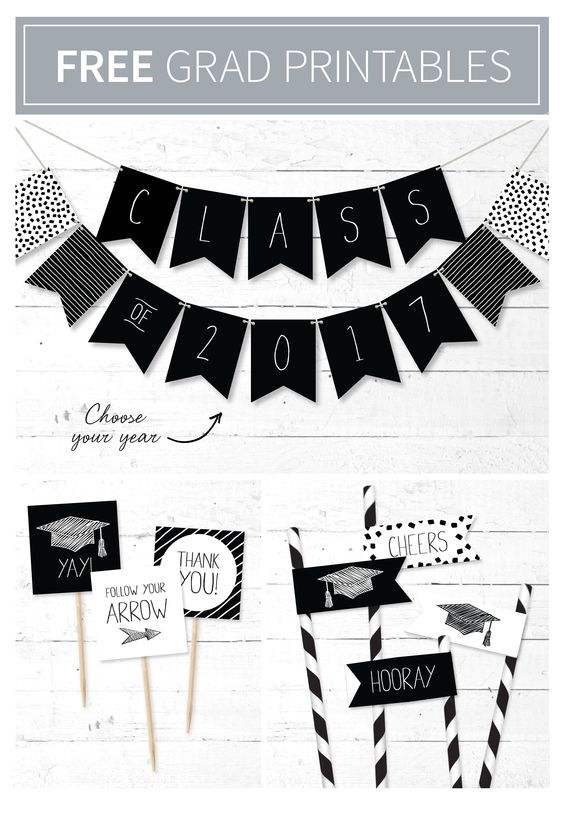 Looking for last-minute touches to tie your graduation party together? Jazz up your party using our free printable décor suite. Download the free printables here: http://bit.ly/1NrY27I
