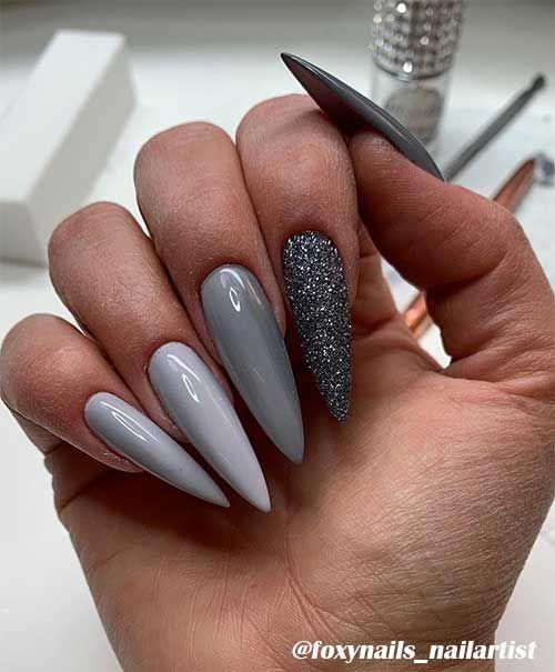 The Best Gray Nail Art Design Ideas Stylish Belles In 2020 Grey Acrylic Nails Gray Nails Grey Nail Art
