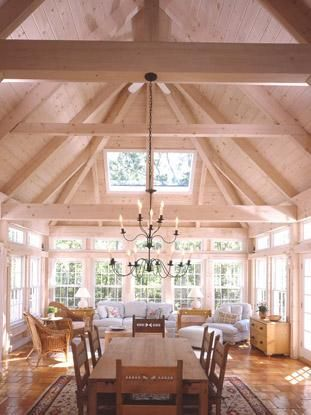Post and beam dining and sunroom addition screened for Timber frame sunroom addition