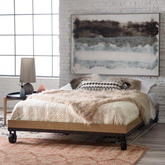 Belham Living Merced Platform Cart Bed Washed Gray Bed Furniture Furniture Bed
