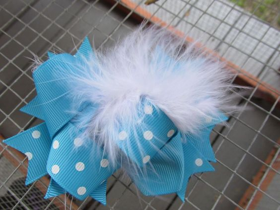 "Hand Made 4.5"" Grosgrain Ribbon Hair Clip Blue Polka Dot Feather 24 #Handmade"