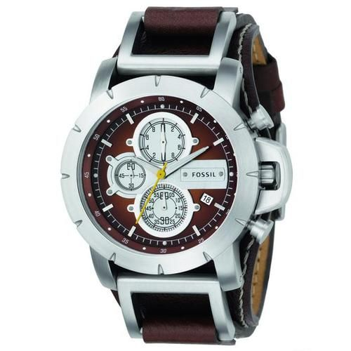Fossil Men's Utility Brown Leather Analog Chronograph Quartz Watch JR1157