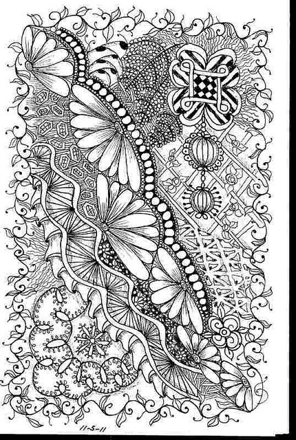 """zentangle""-- these are choreographed doodles made up of specifically named patterns which people are taught to do as a means of relaxation. I have mixed feelings about orchestrated drawing."