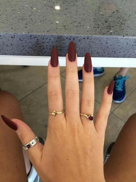 Deep Maroon Red Nails Almond Acrylic Nails Burgundy Nails Brown Nails