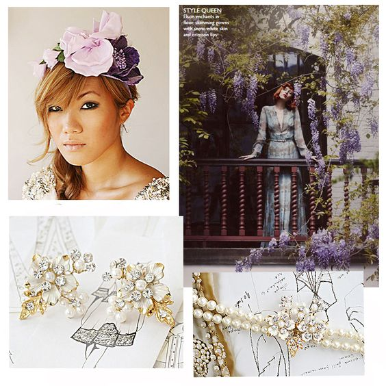Purple Wedding | Anemone | Lilac And Purple | Theme | Flower Crown | Pearl Earrings | Pearl Bracelet | Portobello Jewelry
