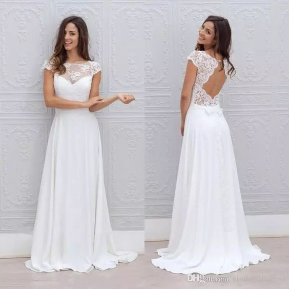 2017 Beach Bohemian Wedding Dresses Illusion Neckline Capped Sleeves Empire Backless White Lace And Chiffon Flowy Sexy Cheap Bridal Gowns Wedding Dresses Empire Waist Wedding Dresses Tulle From Cinderelladress, $117.06  Dhgate.Com