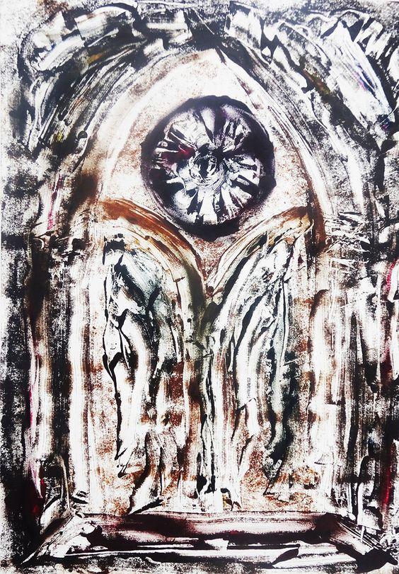 Gothique silvestre cykl II, Monotypia - unikat 70 x 50 cm, 2018 r