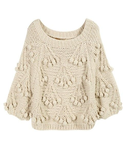 Beige Chunky Cherry Knit Jumper with Cropped Sleeves in Loose Fit