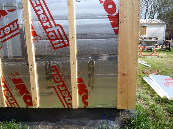 Strapping applied with 'Timberlok Screws' directly into studs to hold insulation in place and to anchor siding and to create 'Rain Screen'