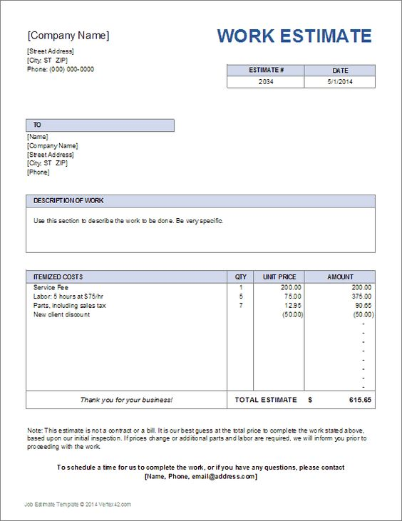 Project Blank Estimate Template | Work Estimate Template