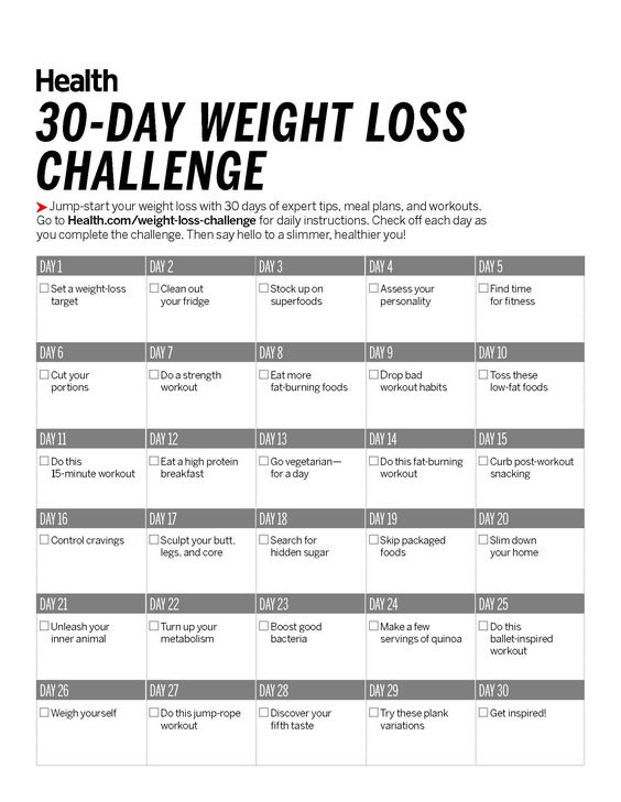 30-Day Weight Loss Challenge | Fitness planner, Weight loss goals ...