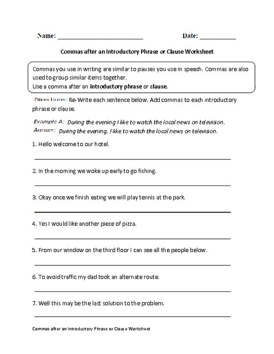 Printables Clauses And Phrases Worksheets worksheets on pinterest commas after introductory phrase or clause worksheet