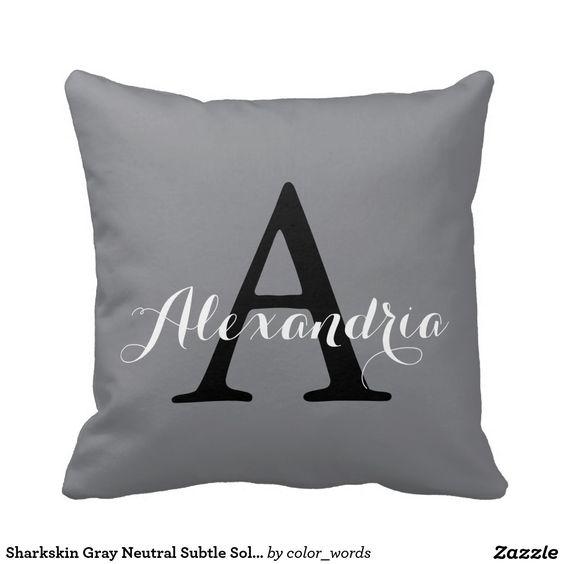 Sharkskin Gray Neutral Subtle Solid Color Monogram Pillow