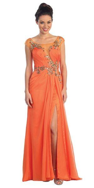 Orange Chiffon Cap Sleeve Beaded Dress