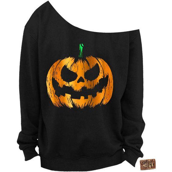 Ladies Halloween Shirt Foil Pumpkin Slouchy Sweatshirt Off the... (£18) ❤ liked on Polyvore featuring tops, hoodies, sweatshirts, black, women's clothing, black shirt, black sweatshirt, graphic shirts, sweatshirts hoodies and black off shoulder top
