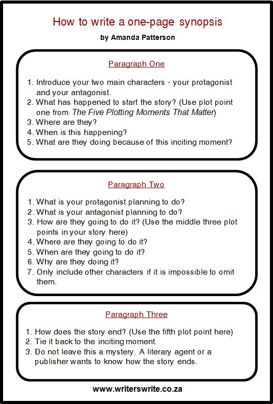 How To Write A One-Page Synopsis – Writers Write