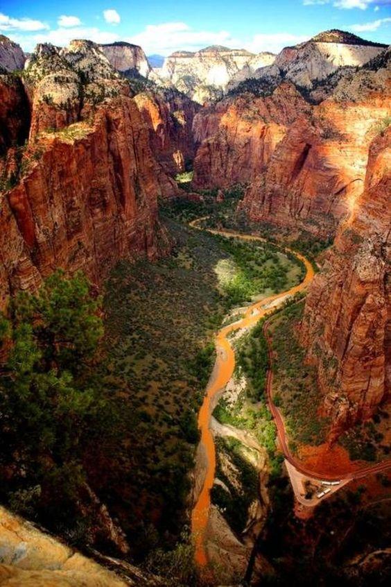 """#USA Zion National Park, dans l'Utah Son nom signifie littéralement """"refuge"""". Au-delà de l'aspect spectaculaire de ses canyons, le parc de Zion est un sanctuaire pour la faune et la flore, abritant reptiles, mammifères, oiseaux, poissons, cactus et même conifères."""