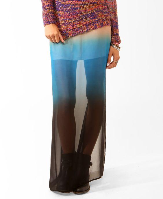 Long Ombre Slit Skirt   FOREVER21 - 2031556935