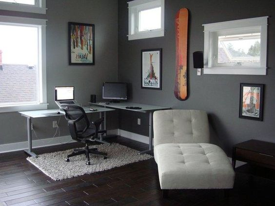 amazing grey office study room with glass windows suitable desk black chair and white rug amazing gray office furniture