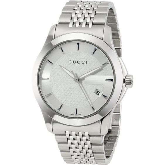 "Gucci Men's YA126401 ""G-Timeless"" Stainless Steel Bracelet Watch (2.304.440 COP) ❤ liked on Polyvore featuring mens, men's jewelry, men's watches and watches"