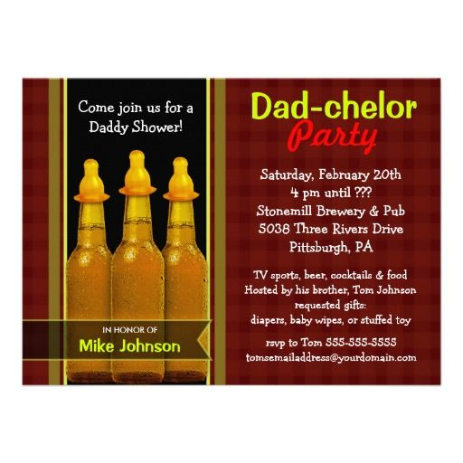 Baby Gear for Dad | Dad-chelor Party - Daddy Baby Shower Invitations from Zazzle.com