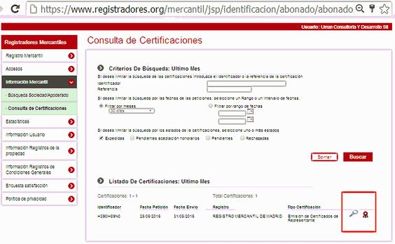 Descarga certificado de registradores.