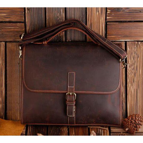 ROCKCOW Classic Leather Messenger Satchel Laptop Leather Briefcase Bag Leather…
