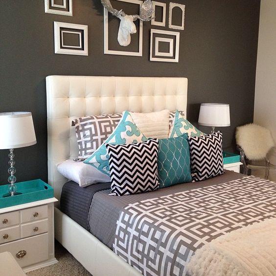 #quarto #cinza #turquesa Decoração Pinterest Quartos  ~ Quarto Pintado De Branco E Cinza