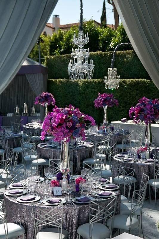 Purple And Silver Wedding Decor Elegant Silver Fuschia Wedding
