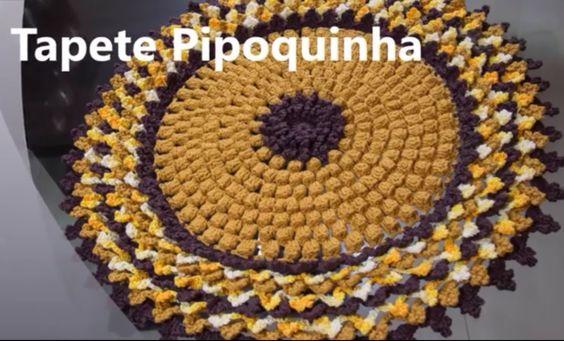 Tapete Redondo de Crochê Passo a passo, Pipoquinha, Crochet Video tutorial, DIY