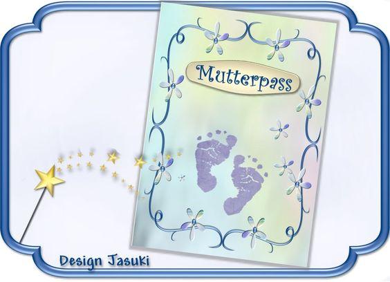 Mutterpass Cover blumig verspielt, blau von Jasuki auf DaWanda.com