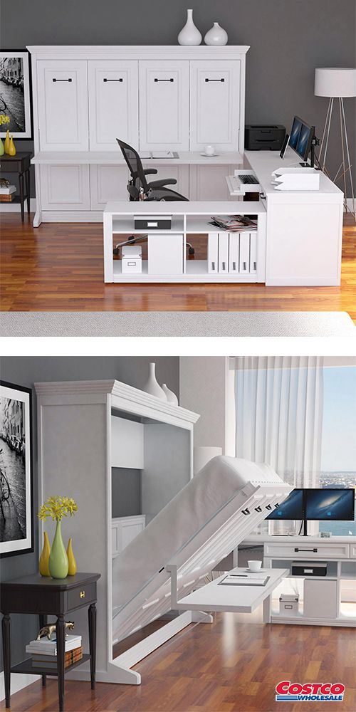 Melbourne Office Pro Queen Wall Bed With Desk White