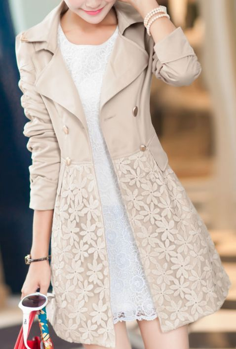 Double Breasted Lapel Lace Print Long Coat   What To Wear ...