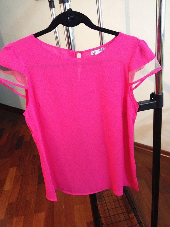 Blusa de chiffon com detalhe de tulle nas mangas....amei mais opções na página: facebook.com/kdcmodafeminina