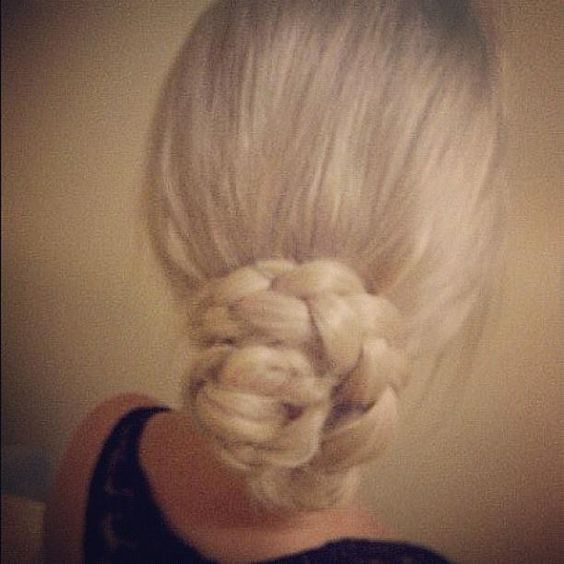 Pony tail - two braids - wrap one by one and pin :)