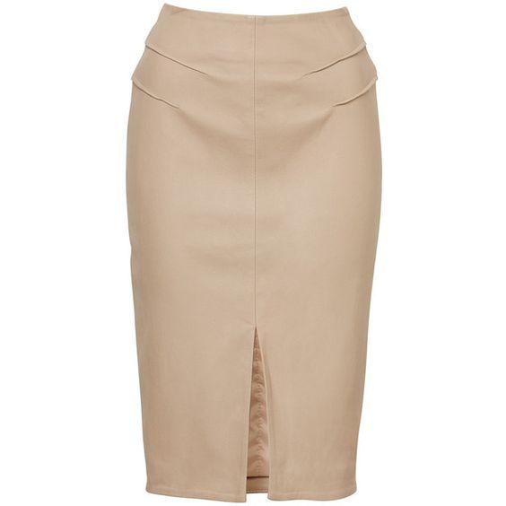 Sloane Skirt ❤ liked on Polyvore featuring skirts, юбки, leather midi skirt, sloane, knee length leather skirt, beige skirt and calf length skirts