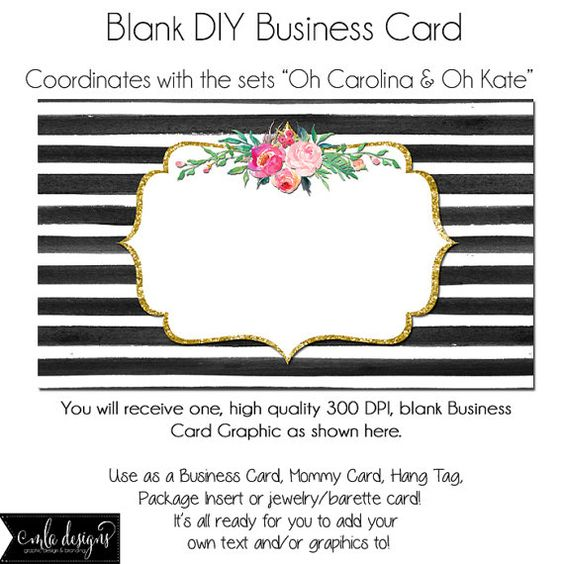 DYI Blank Business Card Template - Oh Carolina Oh Kate, Made to - blank business card template