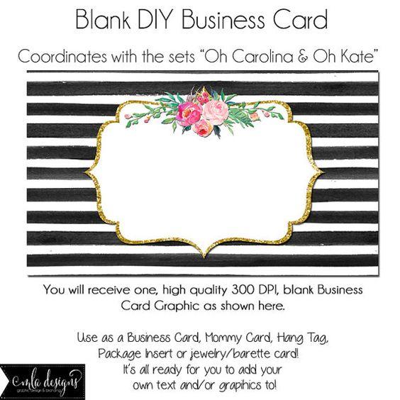 DYI Blank Business Card Template - Oh Carolina Oh Kate, Made to - blank business card template