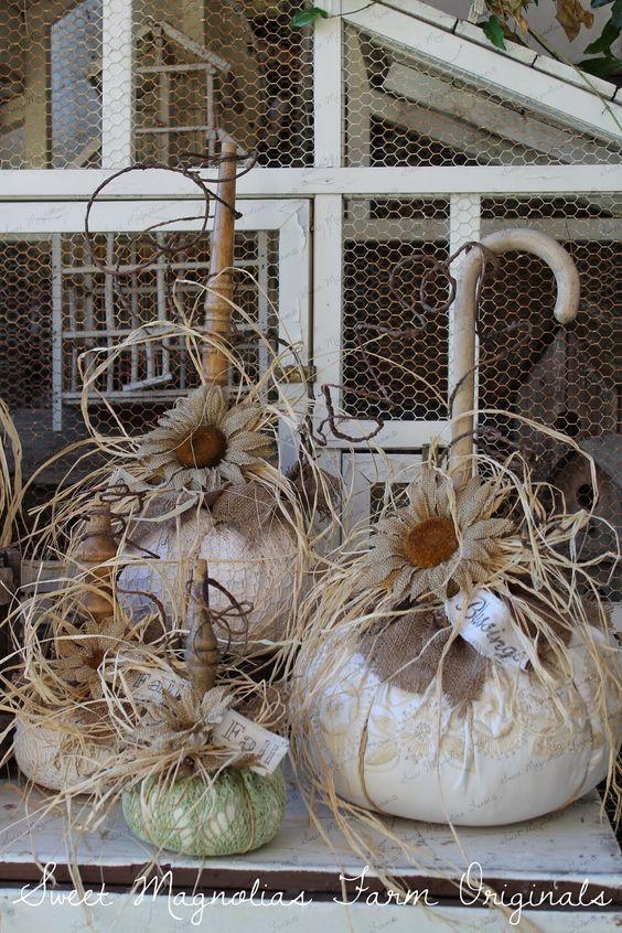 Sweet Magnolias Farm: Plus de Sweet Magnolias Farm Originals ~ Des citrouilles Farm Farm vintage en lin et dentelle ont été ajoutées à la boutique! ...