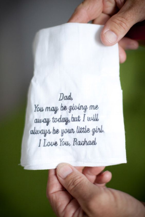 handkerchief..great gift idea for father of bride from bride