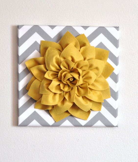 "Wall Flower -Mellow Yellow Dahlia on Gray and White Chevron 12 x12"" Canvas Wall Art- 3D Felt Flower. $34.00, via Etsy."