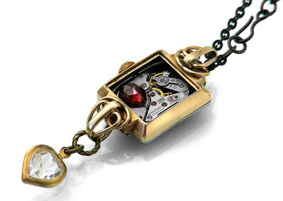 Steampunk Necklace Garnet and Vintage Rolled Gold by ClosetGothic