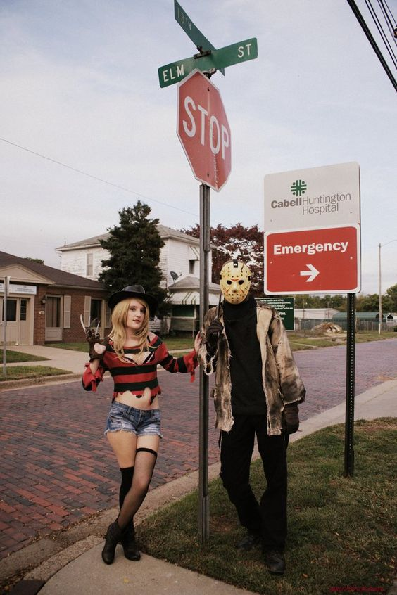 """""""Every town has an Elm Street!"""" How cool is it that we found this street sign? I just wish the houses and hospital sign weren't in the background. Fem Freddy Krueger/ Kotobukiya Freddy:..."""