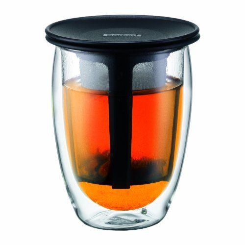 The best little tea glass in the whole wide world. Says me anyway. - Bodum 12-Ounce Tea for One, Double Wall Glass with Strainer