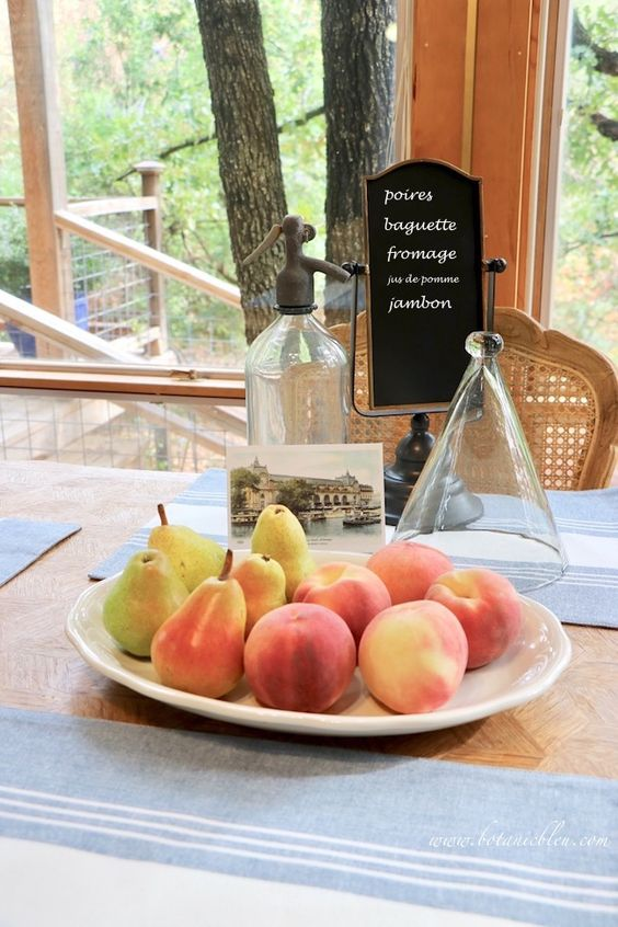 French Country Kitchen Summer to Fall Breakfast Table Peaches and Pears