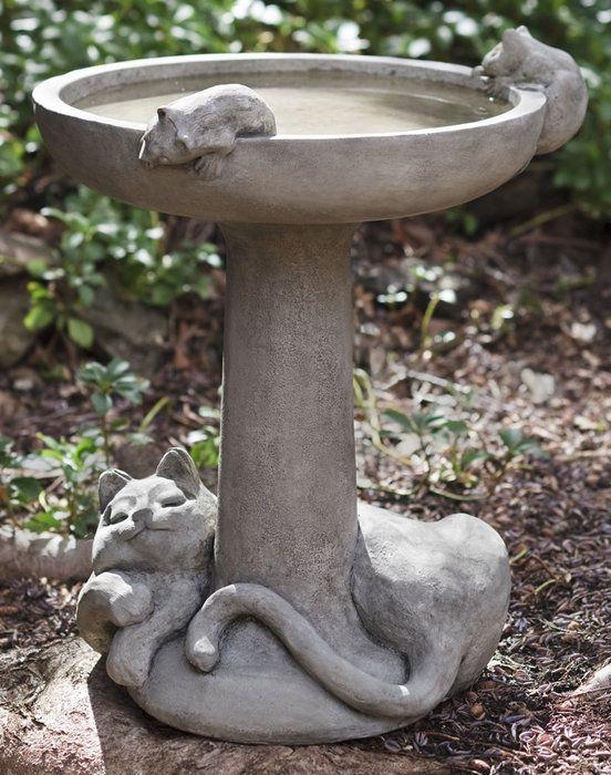 Catnap Birdbath, an adorable cast stone bird bath!: