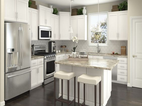 Contemporary Kitchen with Pendant light, L-shaped, European ...